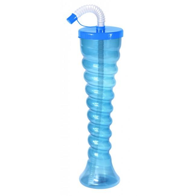 Kielich spirala niebieski neon płaski dekielek 350 ml